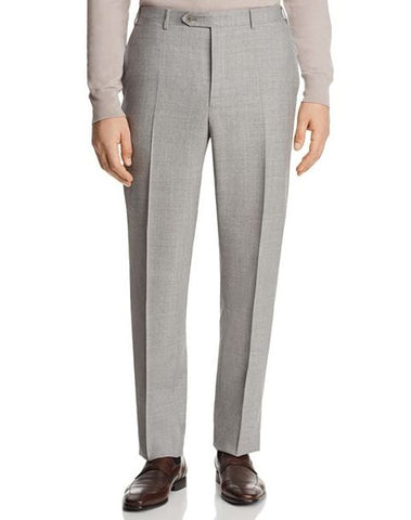 Canali Men's Grey Solid Open Micro Box Weave Regular Fit Dress Pants, Size 38R