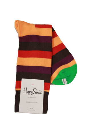Happy Socks Men's Multi Striped Socks, Sock Size 10-13