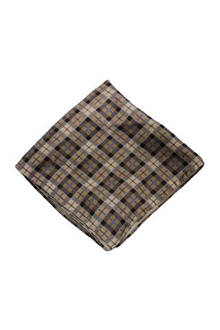 Bloomingdale's Men's Taupe Checkered Pocket Square