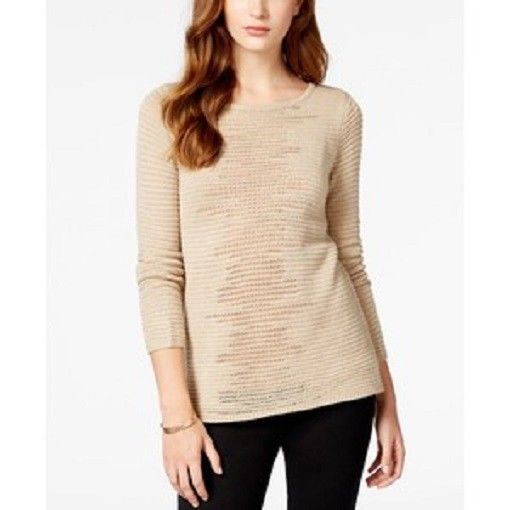 Bcx Juniors' Lurex-Stripe Pullover Sweater, Champagne, XXS, NWT