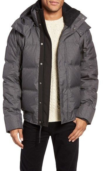 Andrew Marc Men's Gray Coventry Quilted Down Bomber Jacket, Size M NWOT