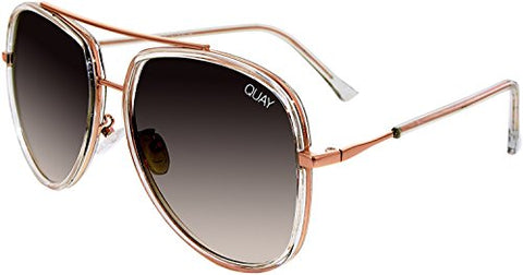 Quay Australia NEEDING FAME Women's Sunglasses Bold Aviator - Clearn/Brown