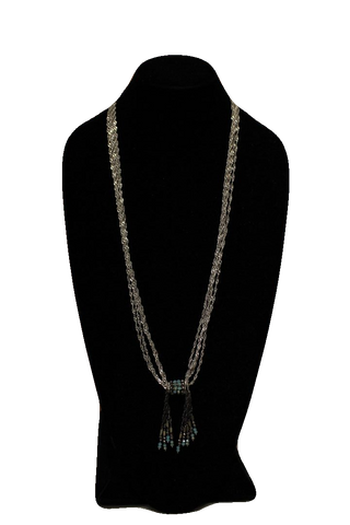 Free People Silver Blue Multi Strand Necklace