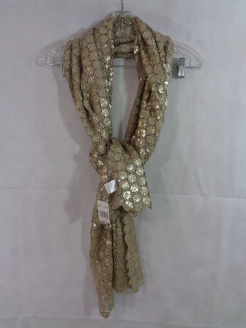 Collection 18 Women's Beige Champagne Floral Sequin Neck Wrap Scarf