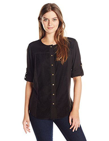 Calvin Klein Womens Black Crew Neck Roll Sleeve Blouse, Size 3X