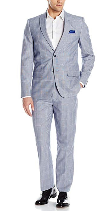 Ben Sherman Men's Blue/White Two Button Slim Fit Glenplaid Window Suit, Size 40R W34