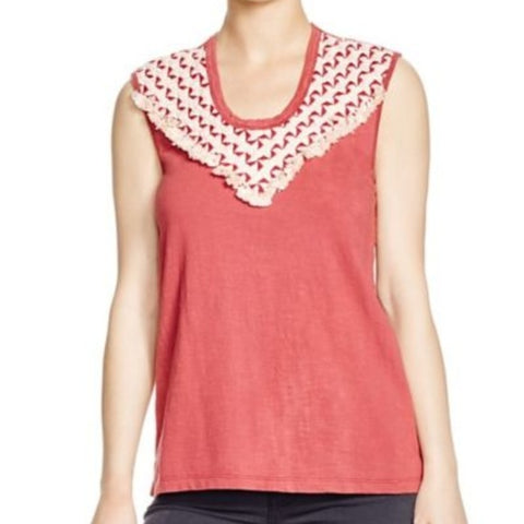 Pepin Women's Burgundy Joan Sleeveless T-Shirt, Size M