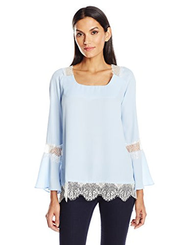 NY Collection Women's SLD LS Bell Blouse With Tie At Back and Lace Trim, Chambray Blue, M
