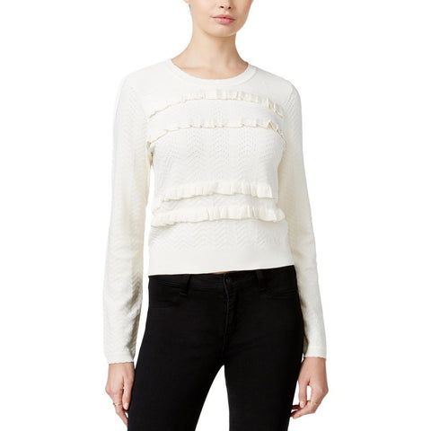 MAISON JULES Womens Ruffled Long Sleeves Pullover Sweater, NWT, S