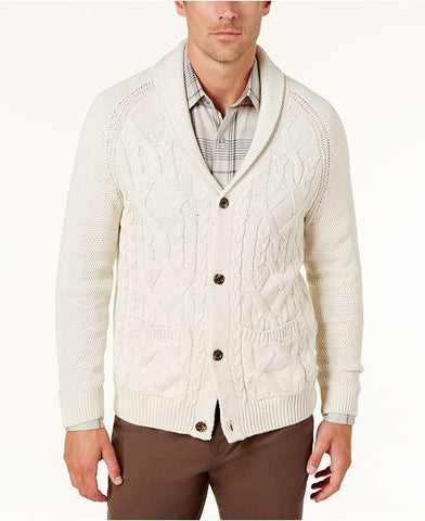 Tasso Elba Men's Crossed Cable-Knit Cardigan, Size XXL