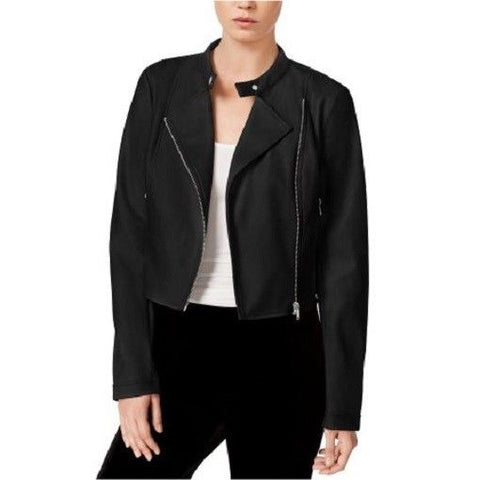 Bar III Women's Cropped Faux-Leather Jacket Deep Black XXL