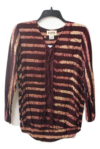 Pepin Women's Gretchen Luxury V Neck Blouse Shirt in Burgundy, Size S