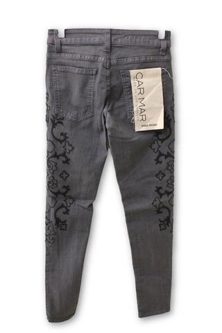 Carmar Women's Gray Embroidered Jeggings, Size 23W
