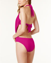 Bar III Women's Draped Monokini One-Piece Swimsuit Orchid/Magenta NWT