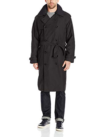 London Fog Men's Black Iconic Trench Coat, Size 44R