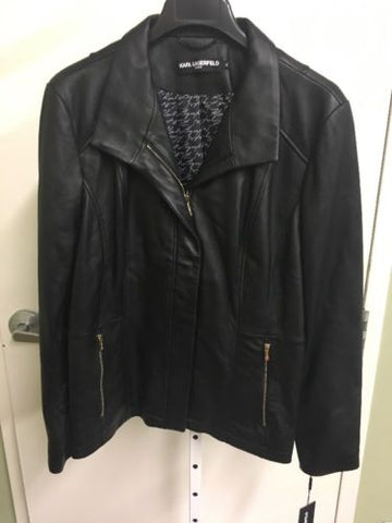 Karl Lagerfeld Women's Genuine Leather Jacket XL NWT