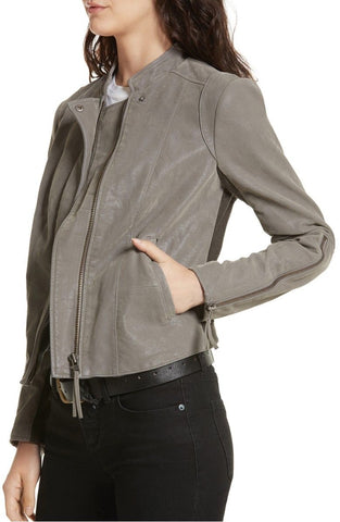 Free People Women's Gray Faux Leather Jacket Size 4 NWT