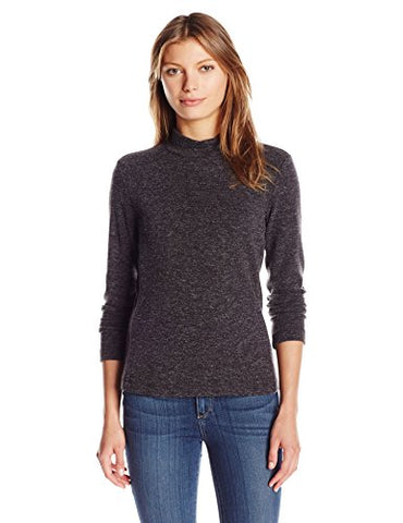 Calvin Klein Women's Textured Mock Neck Top, Charcoal, S