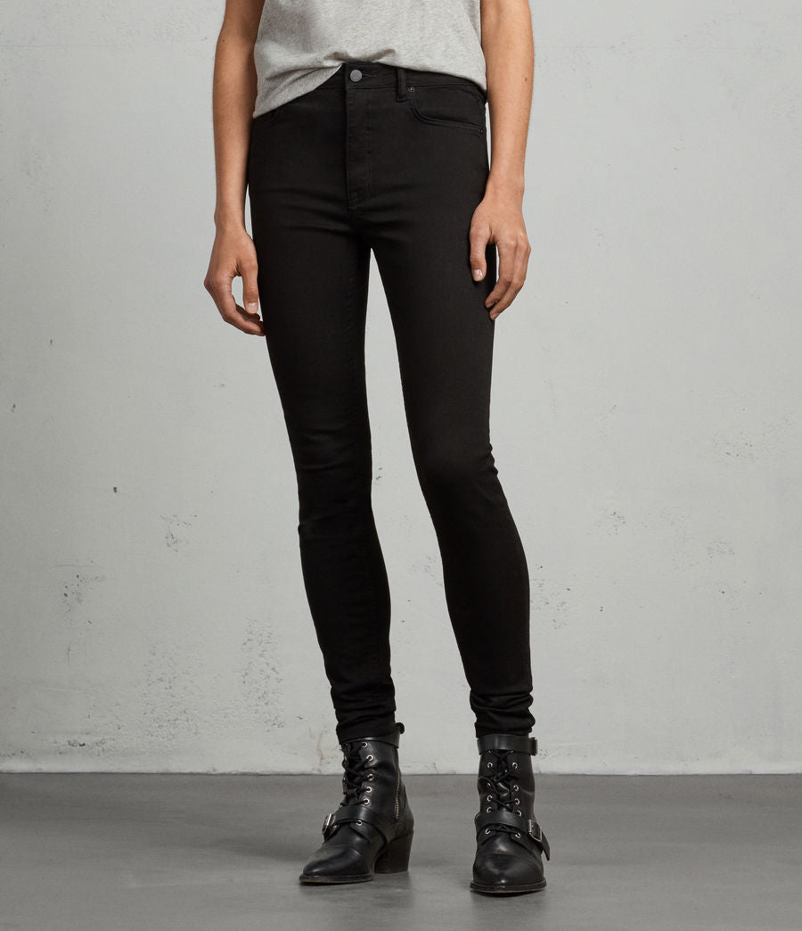 ALLSAINTS Womens Stilt Skinny Jeans in Jet Black, Size 28