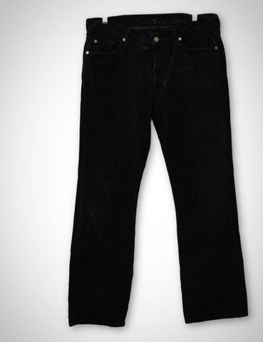 7 For All Mankind Men's Black Velvet Boot Jeans, Size 34x32