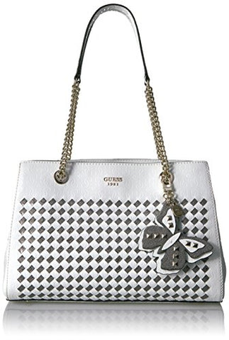 GUESS Flutter Girlfriend Satchel, White/Multi
