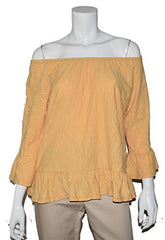 Sanctuary Off Shoulder Striped Blouse (Yellow Striped White, L)