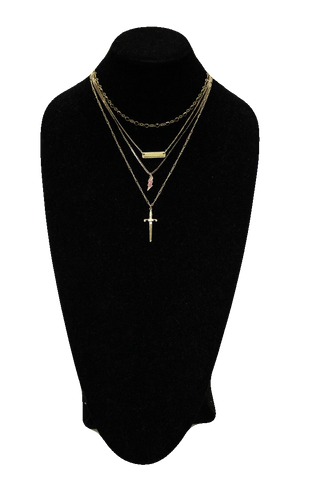 Free People Gold Matinee Necklace w/ Lightning and Sword Pendants