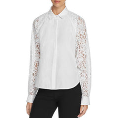 DKNY Womens Lace Cut Out Button-Down Top