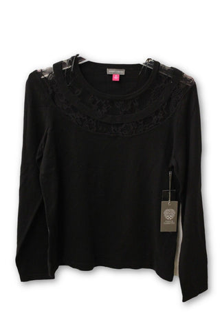 Vince Camuto Women's Black Long Sleeve and Lace Shirt Medium NWT