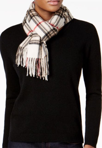 Charter Club Women's Ivory Signature Plaid Cashmere Muffler Scarf