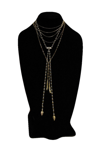 Free People Gold White Matinee Necklace w/ Drops