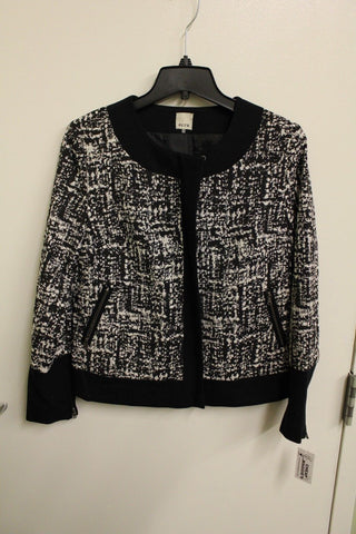 Ecru Women's Black & White Jacquard/Ponte Mix Jacket Size 2 NWT