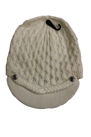 Calvin Klein Women's Cream Honeycomb Cable Cabbie Hat