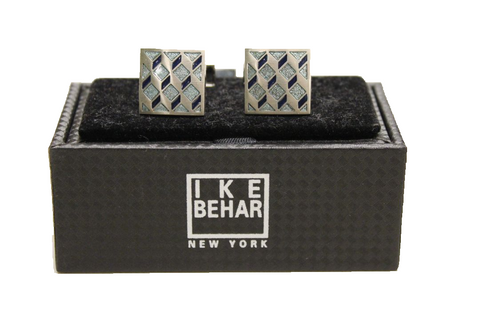 Ike Behar Silver Plated with Black/Blue Detailing Cufflinks