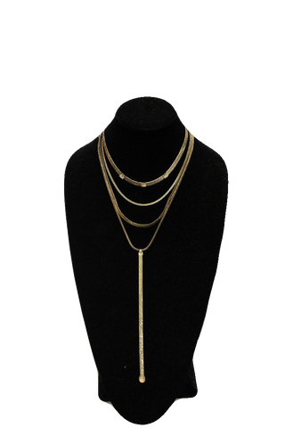 Free People Gold Gem Matinee Necklace w/ Drop