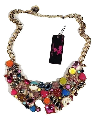 Betsey Johnson Women's Trolls Charm Bib Statement Necklace