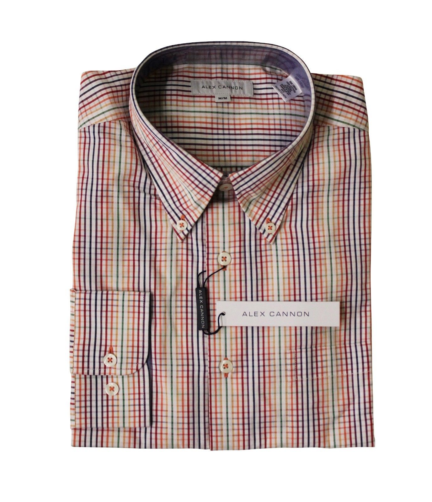Alex Cannon Men's Dress Shirt, Spring Mini Check, Size M, NWT