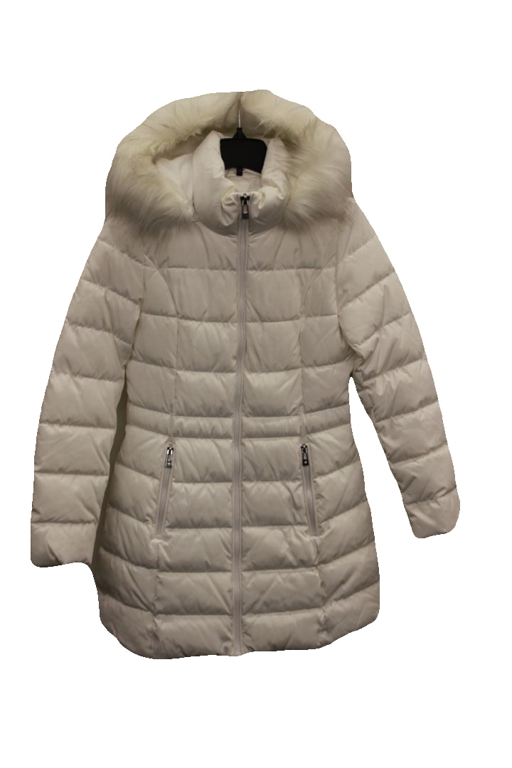 I.N.C. Women's White Faux-Fur-Trim Puffer Coat, Size S