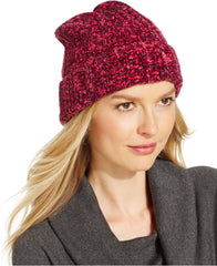 Charter Club Women's Chenille Shaker Cuff Knit Beanie Hat One Size Cherry