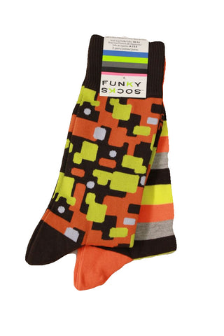 Funky Socks Men's Orange Patterned 2-Pack Socks, Sock Size 10-13