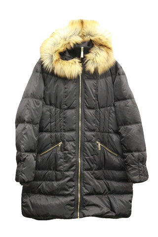 Vince Camuto Women's Black Faux-Fur-Trim Hooded Puffer Coat, Size XXL NWOT