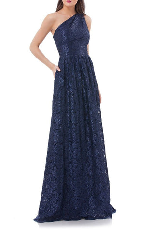 Women's Carmen Marc Valvo Infusion One Shoulder Sequin Lace Gown, Size 8 - Blue