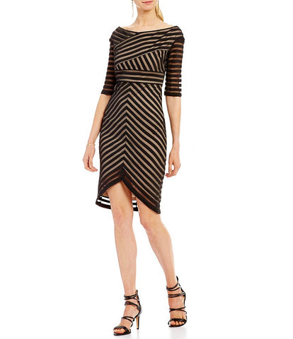 69ff600c3e2 Jax Off-The-Shoulder Illusion Stripe Sheath Dress Size 4 · Cheap Maggie s