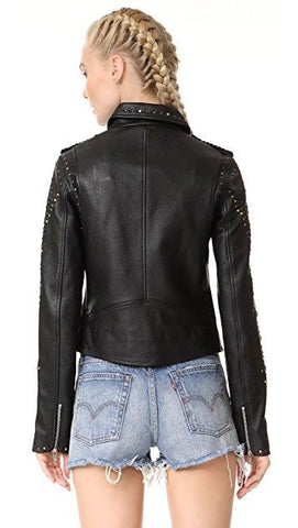 Scotch & Soda Women's Maison Scotch Leather Racing Biker Jacket - L - $775