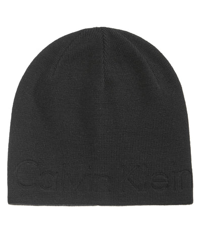 Calvin Klein Men's Black Embossed Beanie