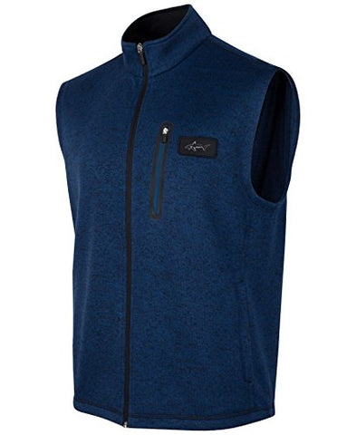 Greg Norman Socket Men Mock Neck Full Zip Sweater Vest Blue Size LT