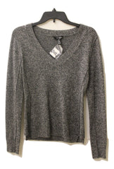 Aqua Cashmere Women's Gray V-Neck Sweater, Size XS