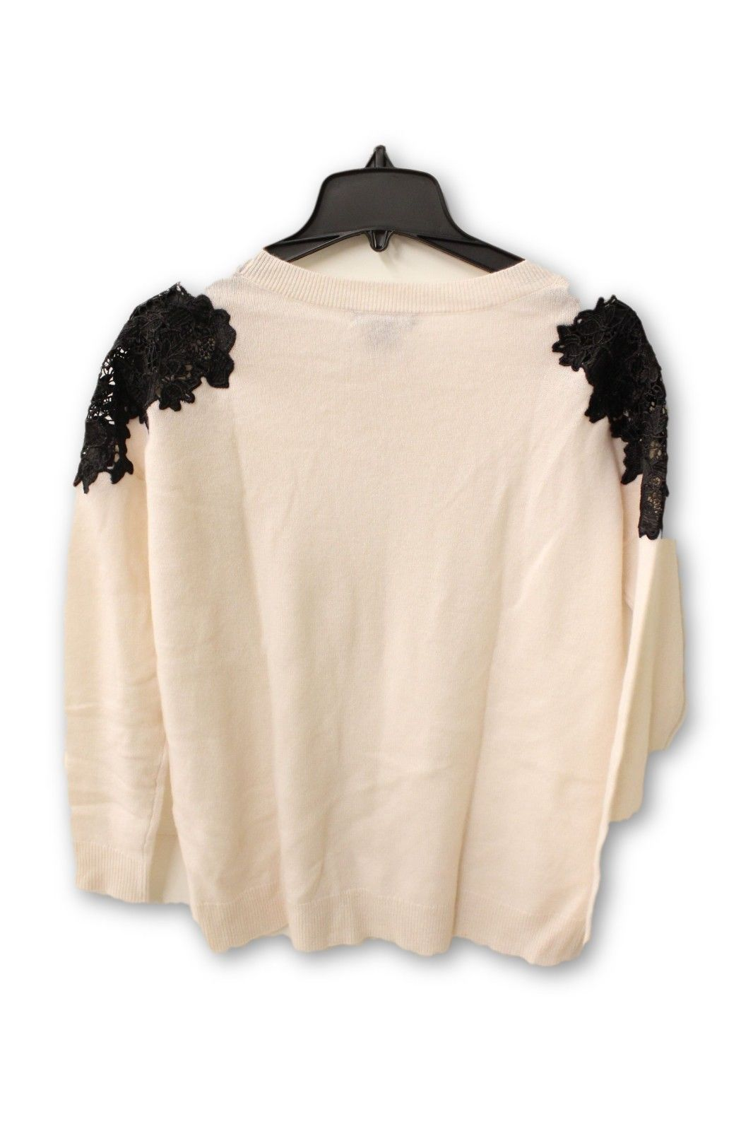 Bloomingdale's Women's Cashmere - Beige Crew Neck with Black Lace Sweater M NWT
