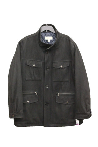 Michael Kors Men's Black Big & Tall Wool-Blend Field Coat, Size 2XB