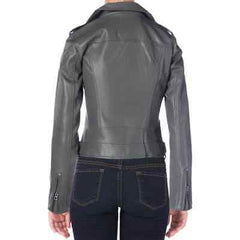 Lucky Brand Women's Gray Faux Leather Bonded Motorcycle Jacket
